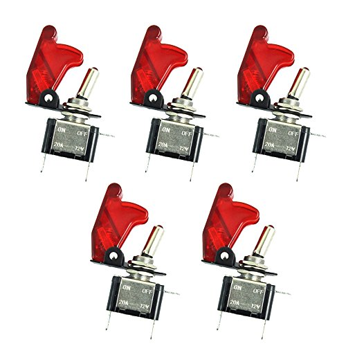 E Support Car Red Cover Red LED Toggle Switch Pack of 5 ... on