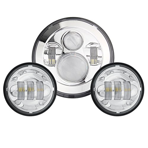 Sunpie 7 Inch Chrome Harley Daymaker LED Headlight+ 2x 4-1/2 ... on