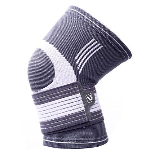 Liveup SPORTS Compression Knee Support Brace with Adjustable Elastic Bandage Straps for Arthritis Tennis LS5676 L Size