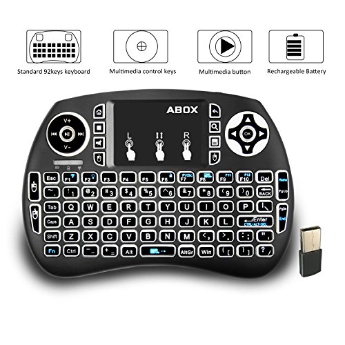 Backlit Mini Keyboard, GooBang Doo 2.4GHz Multi-media Portable Wireless Handheld Mini I9 Keyboard with Touchpad Mouse for XBox 360, PC, PAD, PS3