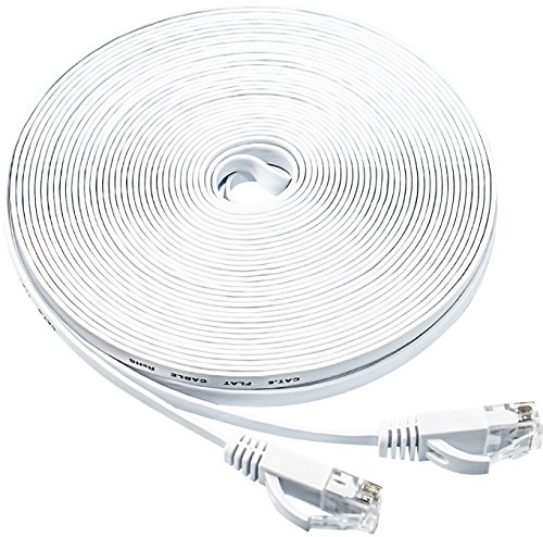 white  u2013 flat ethernet cable  50ft cat6 slim rj45 network cable with cable clips  higher speed