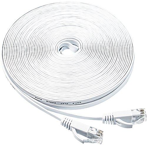 white  u2013 flat ethernet cable  50ft cat6 slim rj45 network