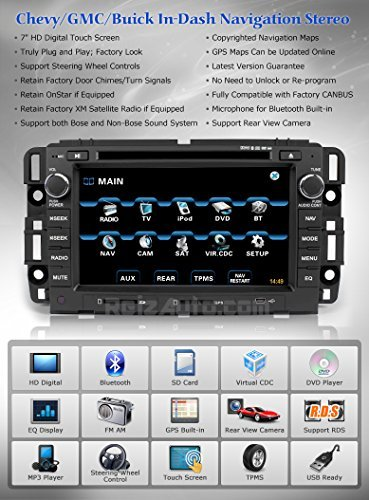 gmc sierra silverado radio 1500 2007 screen gps dash touch chevrolet tahoe navigation replacement avalanche 2500hd stereo oem 3500hd bluetooth