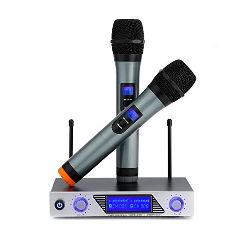 archeer vhf wireless microphone system mini professional home ktv set with dual channel. Black Bedroom Furniture Sets. Home Design Ideas