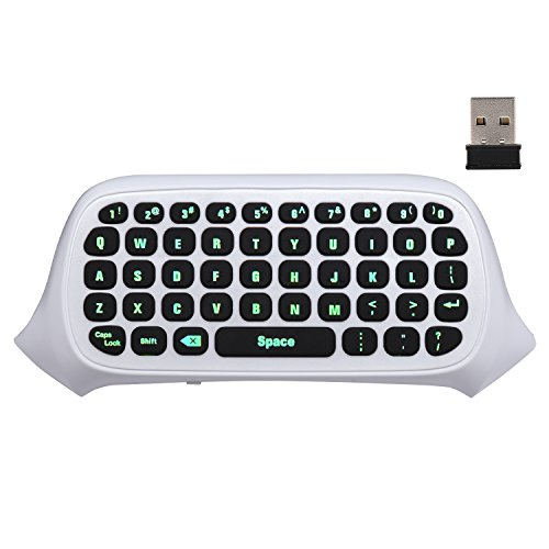 MoKo Xbox One Mini Green Backlight Keyboard, 2 4G Receiver Wireless