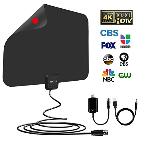 MATIS Indoor Amplified Digital HDTV Antenna 60~80 Mile Range Local